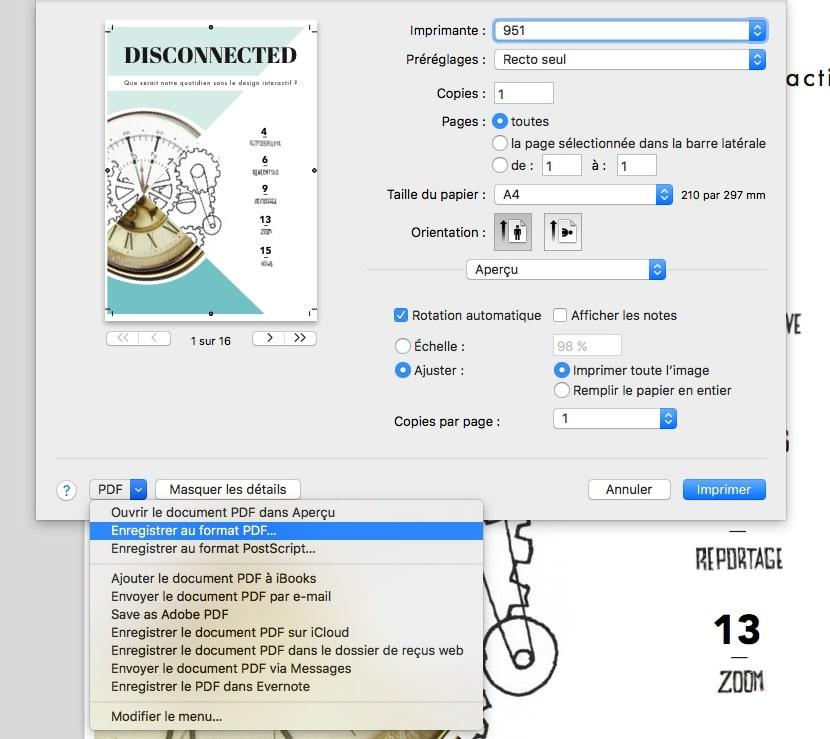 Enregistrer un PDF sur MAC